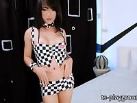 Red hot ladyboy Bee gives an awesome masturbation show