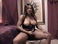 Ebony tgirl cumming
