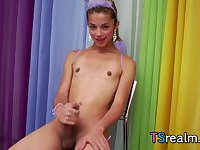Cute Tgirl Izabelly Marquesine Plays With Her Cock