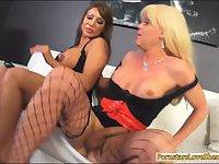 Huge boobs tranny Joanna Jet stuffs milf