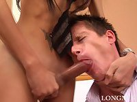 Longmint fucks a guy with her huge cock