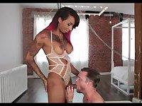 Ebony TS fucks her slave