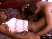 Black shemale enjoys blowjob and takes cock deep in her ass