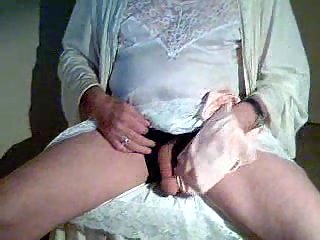 Lewd Crossdresser Rubbing Dong Through Silk Lingerie