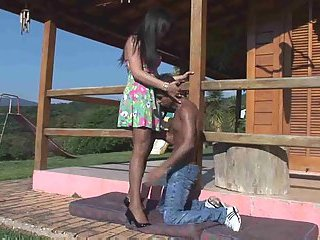 Latina TS and black guy outdoor madness