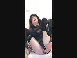 Burning crossdresser in black solo