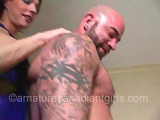 Tattooed stud for sex hungry Tgirls Pt.1
