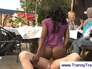 Ebony tranny in a public threesome