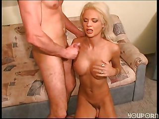 Luxurious Busty Blonde Tranny Gets Banged