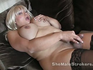 Busty blonde masturbating & cumming