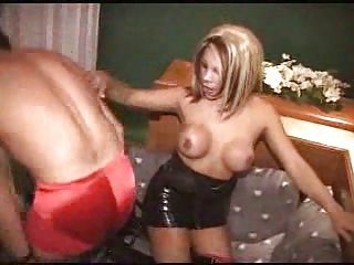 Sexual blonde TS riding