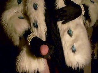 Cumshot in fur coat