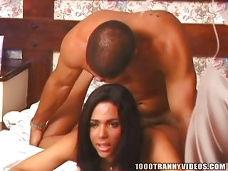Brazilian chick with dick gets fucked