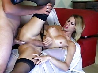 Condom fuck for blonde TS