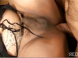 Anal beads and fuck for cute busty tranny