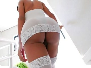 Sabrina Suzuki White Lingerie Pleasures Huge Cock to Cumshot
