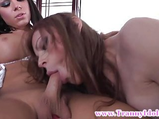 Attractive ladyboy trannies play outside