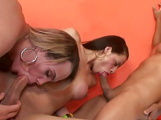 Shemale tranny threeway with anal plowing and cock sucking