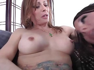 Sexy shemale uses a sex toy for another trannies ass