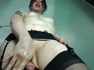 Tranny shemale with small tits gets blowjob