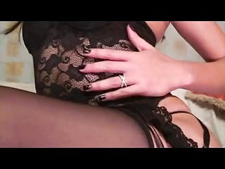 Sexy brunette tranny in black lingerie is right for him