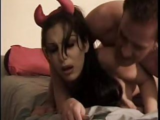 Brunette vamp gets her dick sucked