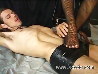 Black tgirl dominates a white guy