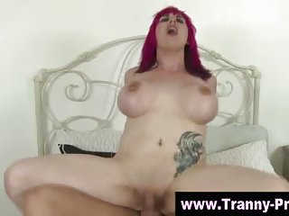 Chick with dick shemale fuck and facial