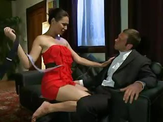 Lustful tgirl eats a guy