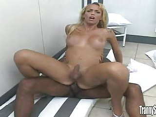 Sexy blonde TS rides dude dick