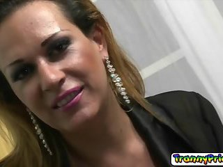 Horny tranny chick Milena sucking a cock