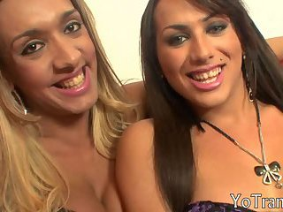 Two steamy hot shemales suck each other hard pussystick