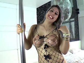 Brazilian shemale Julie plays dildo toys shoving into her ass
