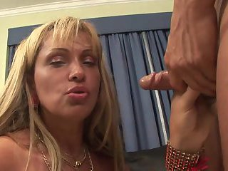 Yummy Blonde Shemale Gets Drilled