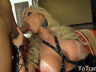 Big tits mature shemale sucks hard cock and anal fucked hard