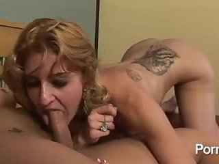 Her pussy is stuffed with tranny dick