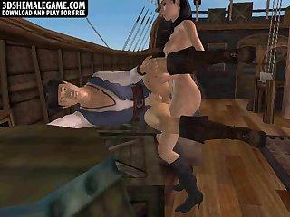 Hot 3D cartoon tranny babe fucking a studs ass