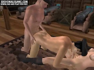 3D tranny blown by a stud while he gets fucked