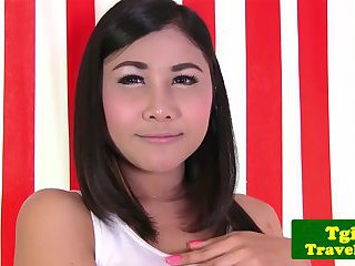 Teen asian TS tgirl Tongta stimulates her ass