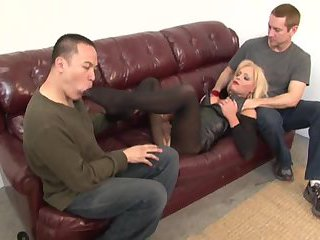 Two guys please blonde TS milf
